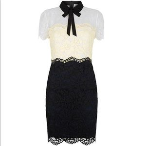 Rozen Lace Dress, Bow Black White Yellow Tricolor